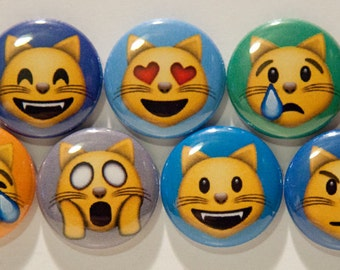 "Set of 9 Emoji Cat Faces 1"" Pinback Buttons"
