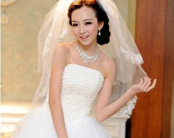 Bridal Veil Beautiful wedding veil off white pearl lace veil two tiers short veil in handmade