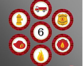 PRINTABLE Fire Truck 2 inch Circles/Cupcake Toppers (Customizable)