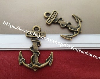 wholesale 100 antique bronze 39mmx30mm anchor charms