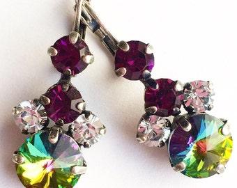 Amethyst and Vitrail Swarovski 12mm rivoli  french wire earrings