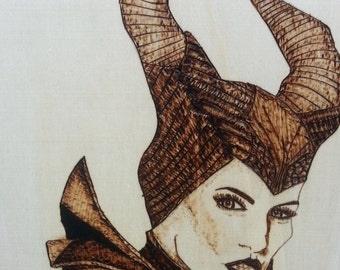 Pyrography wood burning art maleficent home decor