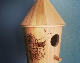 Unique Handmade Wood Burned Bird House Home Decor