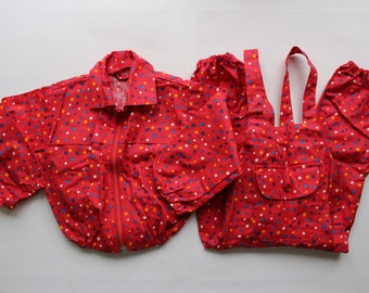 NOS Vintage Girl Rain Jacket and Trousers, Unused Vintage Red Rain Clothes Set, 80s Toddler Set Size up to 2 year.