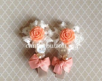 Rose Hairclip * Lace Hairclip * Peach Coral Hairclip Girl Hairclip Newborn Barette Baby Headband Baby Barette Lace Barette