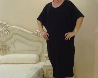 Midi black dressOversized maxi dress/ Plus size dress /Party dress/ Summer Kaftan Long dress/  Everyday dress / All sizes available Us Uk Eu