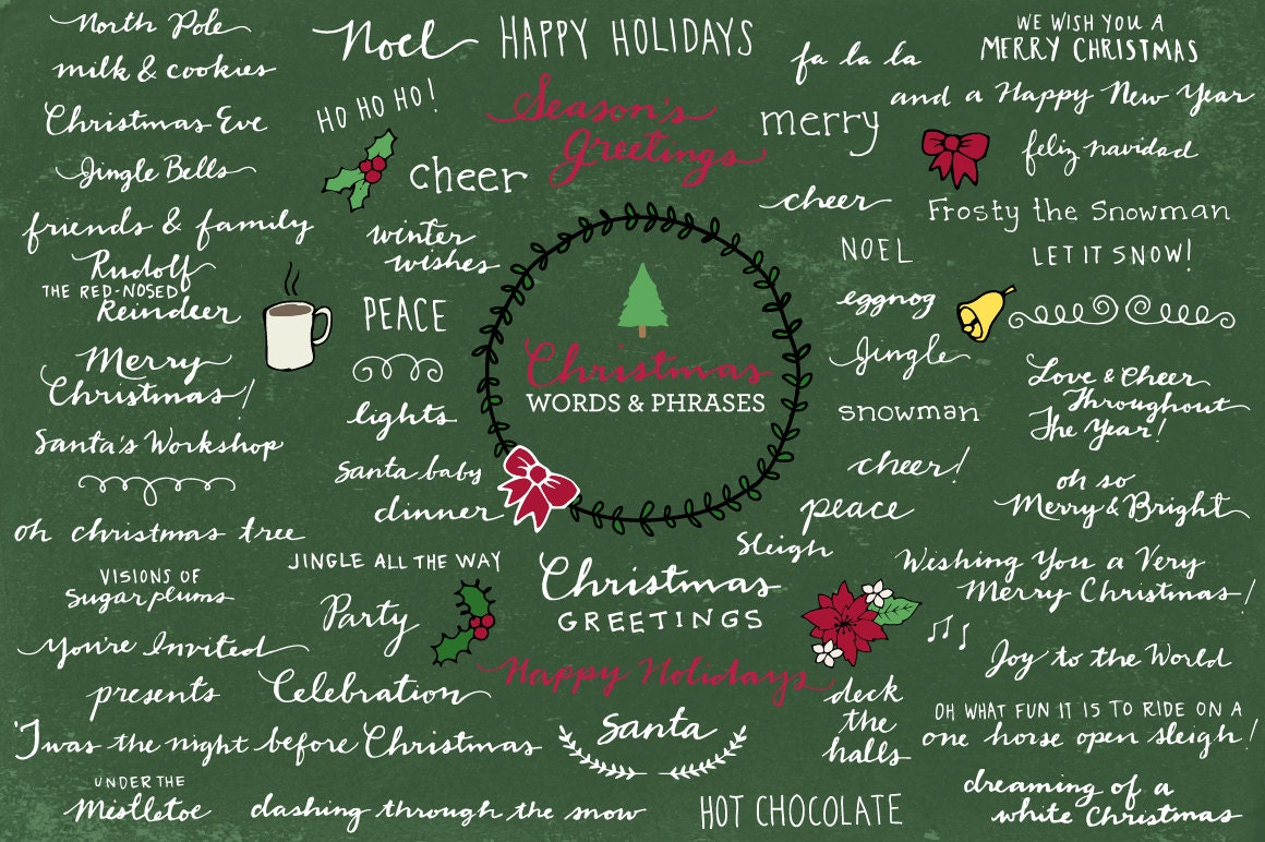 Christmas Typography Clipart - Xmas clipart, xmas photo overlays ...