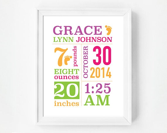 8x10 Personalized Baby Print, Baby Girl Nursery Wall Art, Baby Announcement, Birth Plate, Birth Sign