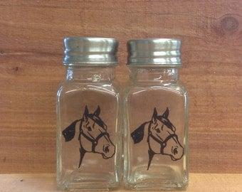 Laser engraved haltered horse salt and pepper shaker set
