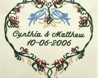 Personalized Wedding Blanket Love Birds Wedding Anniversary Throw