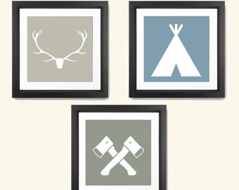 Hipster Wall Art - Hipster Wall Decor - Retro Wall Decor - Retro Wall Art - Deer Wall Art - Deer Wall Decor - Hipster Print Set