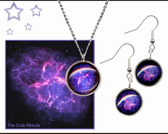 Crab Nebula Pendant and Earrings Gift Set with sterling silver chain and ear wires