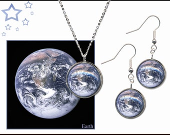 Earth Pendant and Earrings set with descriptive high quality photo gift card.