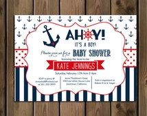Nautical Baby Shower Invitation - Ahoy Its A Boy - Navy and Red - Anchor and Stripes - DIY - Printable - 73
