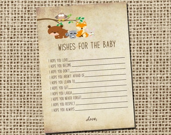 Wishes for Baby Card - woodland animal forest theme. _43