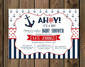 nautical baby shower invitation ahoy its a boy navy and red anchor and