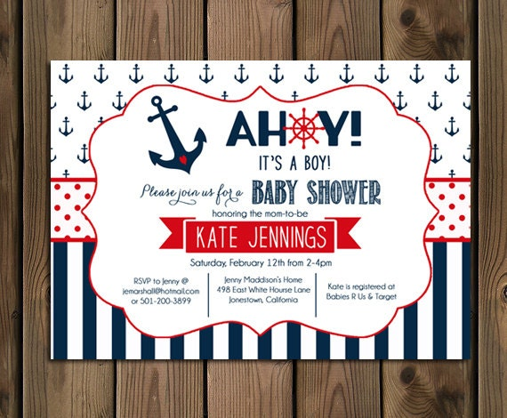 Nautical Baby Shower Invitation Ahoy Its A Boy Navy and