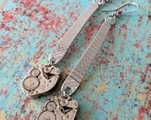 Steampunk Watch Band Earrings, Steampunk Jewelry, Silver Earrings, Caravelle, Steampunk Earrings, Watch Band, Watch Movement, Band Earrings