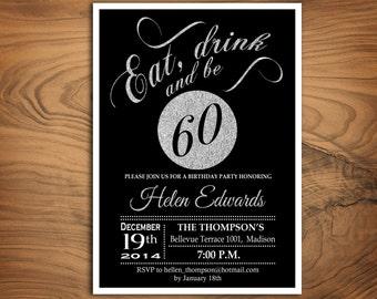 60th Birthday Party Invitation / Any Age / Silver Black / Digital Printable Invitation / Customized