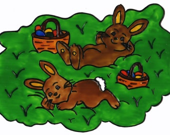 Hand painted window color window image WiCo handmade two Bunny meadow (023)