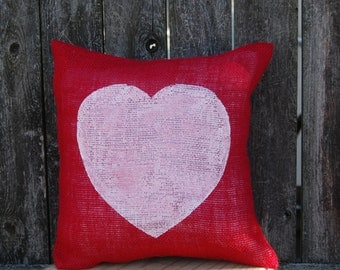 Red Heart Pillow,Valentines Day Decor,Valentines Day Pillow,Valentine Pillow,Valentines Decor, Valentines Decoration,Rustic Valentine Decor