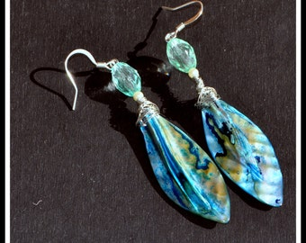 Multi-Colored Green and Blue Beaded Shell Dangle Earrings