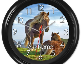 Horse Clock Pony Gelding Colt Riding Gift #2 - Can be personalised (0048)