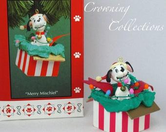 Enesco Merry Mischief Ornament 101 Dalmatians Disney Puppy in Box Christmas Dog Dalmations