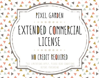 Extended Commercial License Add-On. No Credit Required. Limited Small Business Commercial Use License for Clip Art and Digital Paper.