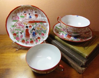 Two (2) Vintage Cup and Saucer Sets - Oriental Design - Geisha Girls
