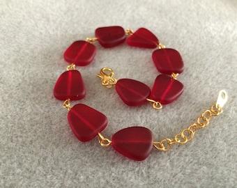Cultured Red Sea Glass Bracelet