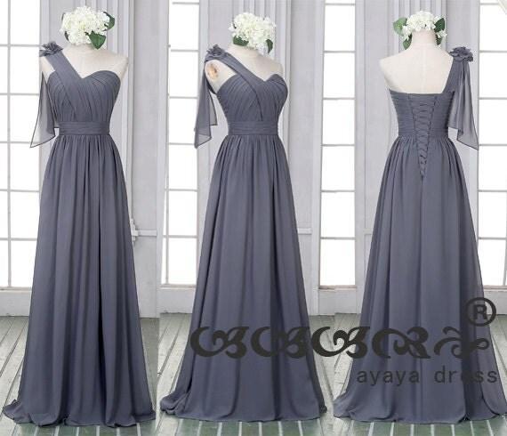 One shoulder dark gray prom dress custom made size by for Dark grey wedding dresses