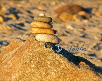 Family of Five ~ Photograph, Beach, New England, Sea, Coastal Decor, Stone Photography, Beach Artwork, Nautical, Earth Tones