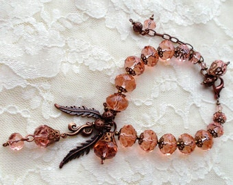 bracelet. pink bracelet. crystal bracelet. crystal Czech. GLASS BEAD Czech. copper details. copper fittings.