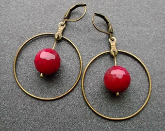 Earrings Agate Ring. earrings crimson faceted Agate. Earrings Dangle. earrings balls. Earrings for sister. gift for her. earrings for you.