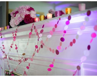 Pink and White Confetti Garland
