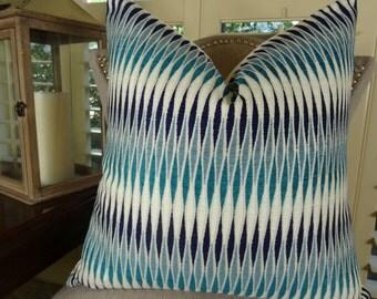 Blue Pillow Cover - Aqua Blue Navy Cream Chevron Pillow - Decorative Throw Pillow - Blue Geometric Stripe Pillow - Couch Pillow - 11322