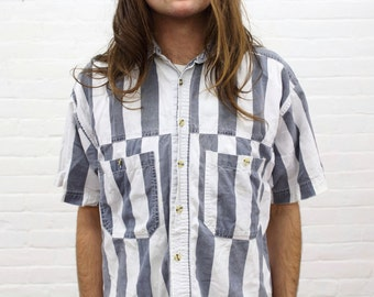 Holding Cell in the Hamptons .... vintage broadstripe shirt from the 1980's / 1990's, size small to medium