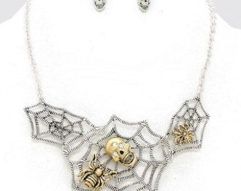 Vintage Spiderweb Necklace & Earrings