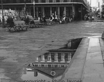 New Orleans Black and White Fine Art Film Photo – Pontalba Reflection – French Quarter Architecture Home Decor Travel