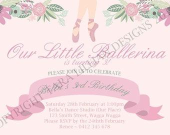 Ballerina Invitation DIGITAL FILE ONLY