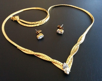 Signed SP Vintage Set Necklace Earrings Navette Clear Rhinestone Gold Tone 483