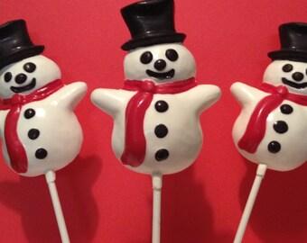 12 White Chocolate Snowman Lollipops