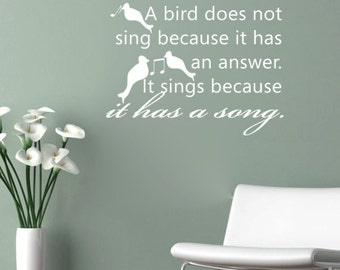 A BIRD Does Not SING Because It Has A ANSWER vinyl wall art sticker decal