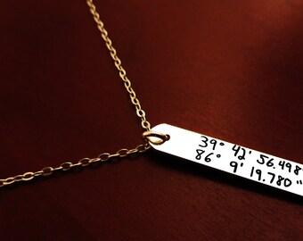 """Handwritten Sterling Silver Latitude Longitude Necklace (1.250"""" .200"""") boyfriend, girlfriend Mother son, daughter"""