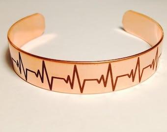 Copper Heartbeat Bracelet Unique Satin Finish,Custom Text, Girlfriend, Mom, Wife, Grandma, Bridesmaid, Wedding