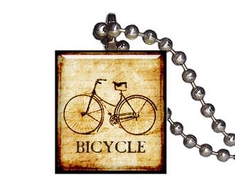 Vintage Bicycle Bike - Reclaimed Scrabble Tile Pendant Necklace