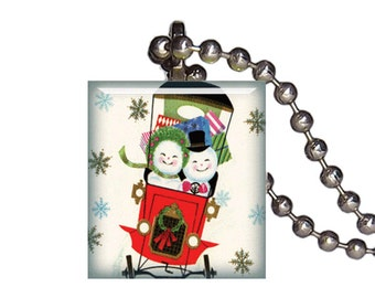 Vintage Christmas Snowman Shopping - Reclaimed Scrabble Tile Pendant Necklace