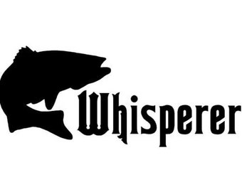 "Bass Fish Whisperer Fishing - Vinyl Decal Sticker - 6"" x 2.5"" - 24 Colors - [#0295]"