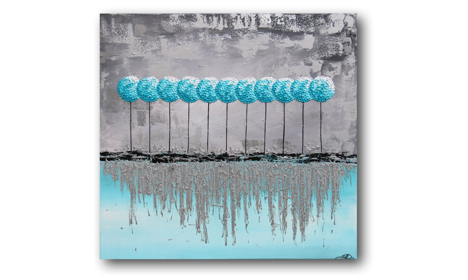 Metal wall art silver metallic painting teal painting for Silver wall art